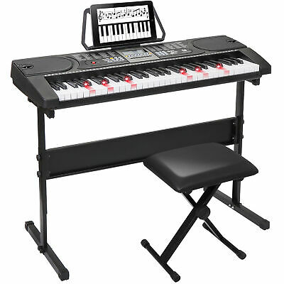 61-Key Portable Electronic Keyboard Piano w/  Stand Stool Headphones Microphone