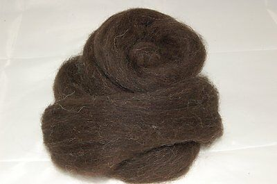 Jacob natural Dark Brown wool roving / tops - 50g - needle felting hand spinning