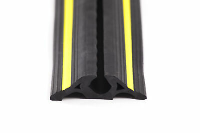 Rubber Cable Protector with Yellow Safety Stripes 6m Rolls