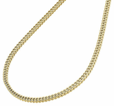 "10K Yellow Gold 2mm Hollow Franco Box Chain Necklace 18""  18 Inch Mens Womens"