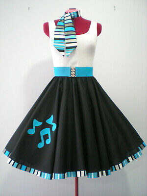 "ROCK N ROLL/ROCKABILLY ""Music Notes"" SKIRT-SCARF-BELT S-M Aqua."