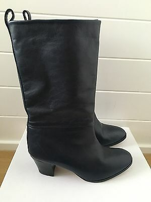 Les Prairies De Paris Leather Knee High Boots Size 36.5