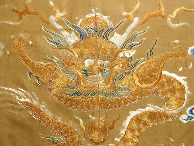 Antique Embroidery Chinese dragon textile framed gold thread superb Asian Art