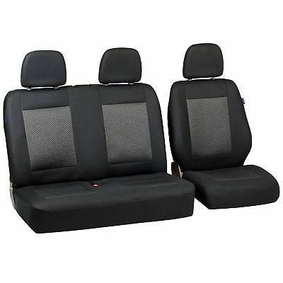 Schwarz-Graue Triangles Seat Covers for Man Tge Car Seat Cover Set 1+2