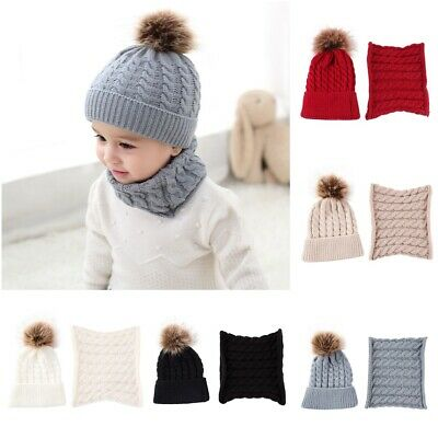 Toddler Kids Baby Boy Girl Fur Pom Hat +Scarf Winter Warm Knit Bobble Beanie Cap