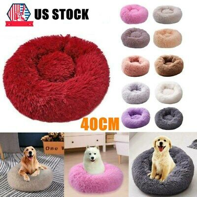 Pet Dog Cat Calming Bed Round Nest Warm Soft Plush Sleeping Bag Comfy Flufy 40cm