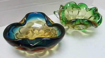 Vintage MURANO GLASS Pinch Bowl Ashtray Mid Century Art Hand Blown Italy 2 Lot