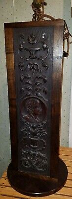 """Carved panels repurpose 29"""" tall 19th century made into lamp"""