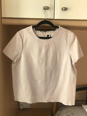 Topshop Real Leather Blush Pink Tshirt Size 12