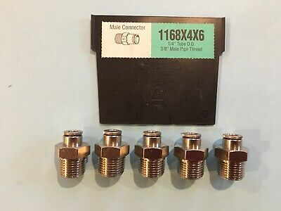 "Weatherhead 1168X4X6 1/4 Tube X 3/8"" Npt Push To Connect Lot 5 Fitting"