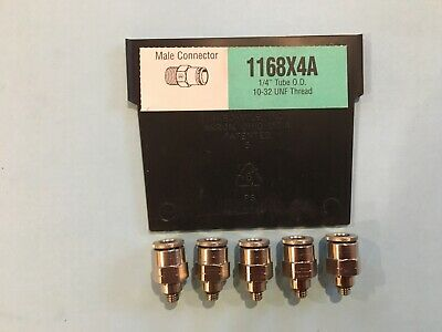 """Weatherhead 1168X4A 1/4"""" Tube X 10-32 Thread Push To Connect Lot 5 Fitting"""