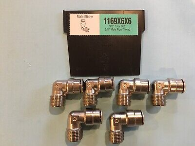 "Weatherhead 1169X6X6 3/8 Tube X 3/8"" Npt 90 Elbow Lot 6 Push To Connect Fitting"