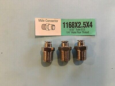 "Weatherhead 1168X2.5X4 5/32 Tube X 1/4"" Npt Push To Connect Male Connector Lot 3"