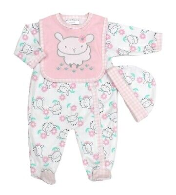 Baby Girls Sheep Clothing Layette Gift Set Sleepsuit Hat Bib Floral Gingham NEW