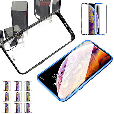 For iPhone XS Max XR 7 8 6 6s /+Plus Luxury Magnetic Rugged Tempered Glass Case