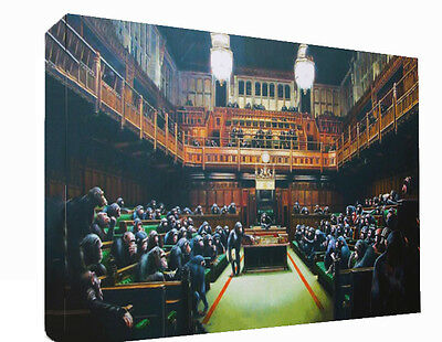 Banksy Graffiti Monkey Parliament Canvas Wall Art Print Painting Picture A4