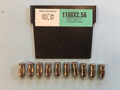 Weatherhead 1168X2.5A 5/32 Tube X 10-32 Male Connector Push To Connect Lot 10