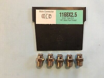 Weatherhead 1168X2.5 5/32 Tube X 1/8 Npt Male Connector Push To Connect Lot 5