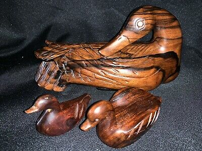 Vintage Wood Carved Ducks (2) and Swan, Made in Philippines, Possibly Teak, 3 Pc