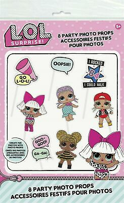 LOL Surprise 8 Pc Photo Props Party Selfie Booth Girls Childrens Kids L.O.L