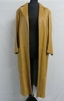 Vintage Mulberry ladies tan leather coat with punched geometric pattern - Large