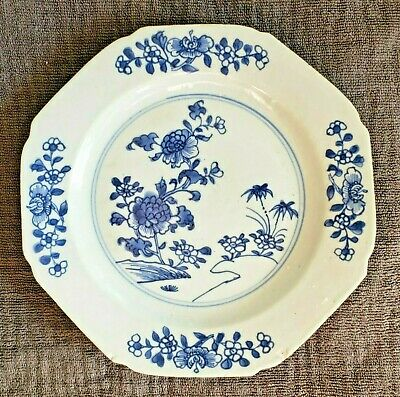 """Antique Chinese Export Porcelain Dinner Plate Blue & White 9"""" No Reserve"""