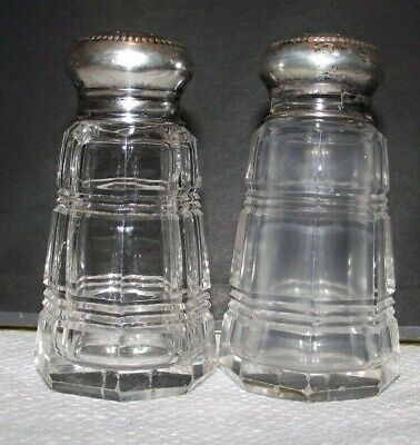 Good Antique Lead Crystal Cut Glass+Sterling Silver Salt Pepper Shakers USA