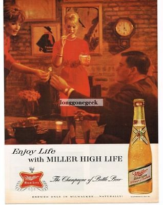 1963 Miller High Life Beer Cocktail Party Vintage Ad