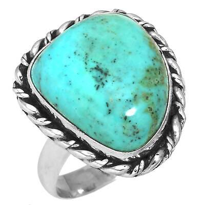 Solid 925 Sterling Silver Turquoise Tibetan Collectible Ring Size 10 cz19055