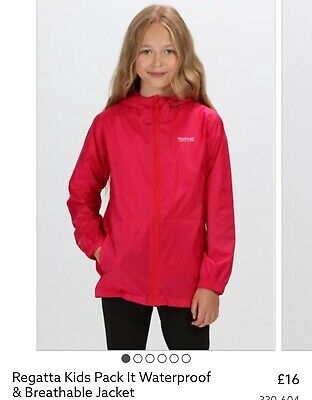 Regatta Waterproof Coat - Pack It Jacket Pink Age 5-6 With Hood Tapered  Bnwt