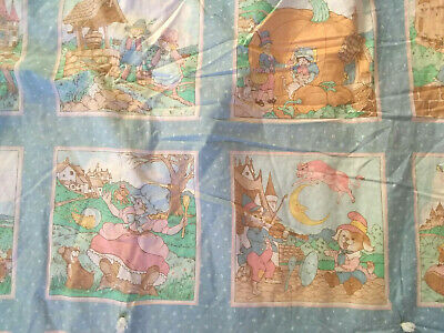 Vintage 70s Crib Quilt Nursery Rhyme Characters Pastel Colors Pink Back 50L x 42