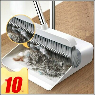 Broom and Dustpan Set Upright Standing Dust Pan With Extendable Broomstick