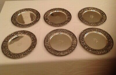 6 S. Kirk & Son Repousse Sterling Dinner Plates Chargers Rare