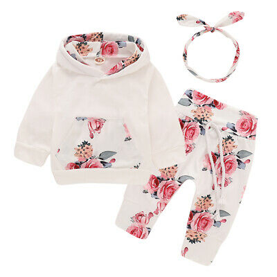 Newborn Kid Baby Girl Clothes Hooded Tops Pants Autumn Outfits Sets Tracksuit US