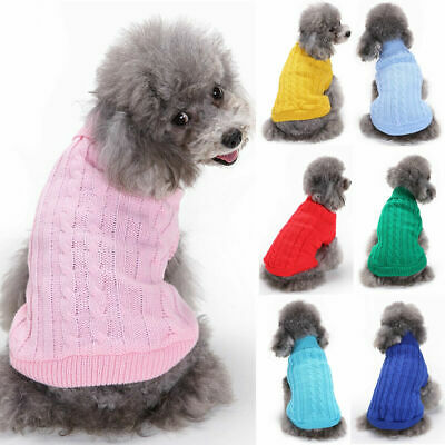 US Small Dogs Pet Dog Knitted Jumper Sweater Chihuahua Pullover Clothes Outfits