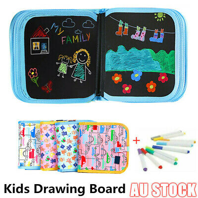 Kids Portable Painting Book Graffiti Board Writing Erasable Drawing Pad NEW AU