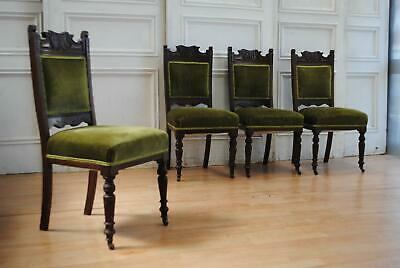 Handsome set of C19th Antique Walnut Edwardian Dining Chairs - Green Velvet