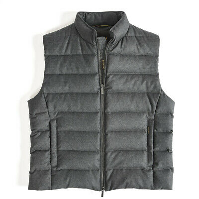 MOORER OLIVER L Down Vest Men Wool Cashmere Charcoal Gray EU54
