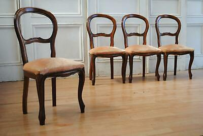 Beautiful Antique Style Vintage Oak Buckle Back Dining Chairs