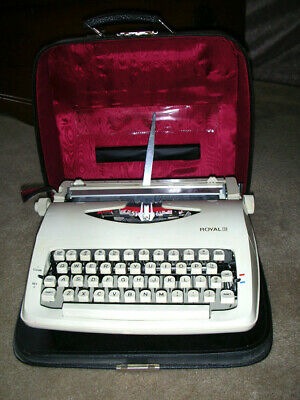 Royal Quiet Deluxe Portable Typewriter Case and Key  CREAM COLOR!!