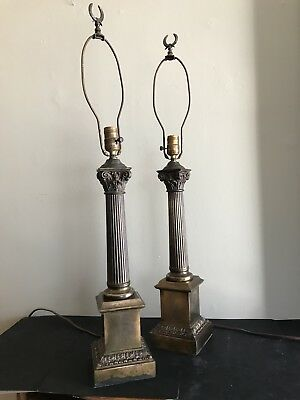 """Pair of Antique Brass Neoclassical Column Table Lamps 34"""""""