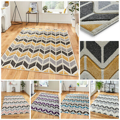 Modern Small Extra Large Carved Multi Coloured Chevron Yellow Grey By Think Rug