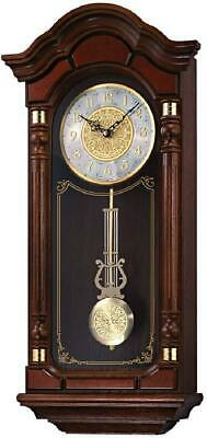 Seiko Dark Brown Solid Oak Case Wall Clock With Pendulum And Chime