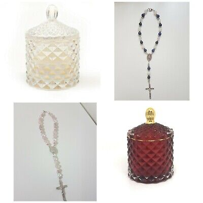 Scented soy candle and car rosary/ door Rosary Christmas gift pack