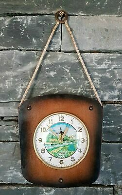 Vintage Retro Kitsch Manual Wind Up Wooden & Rope Wall Clock - Turning Windmill