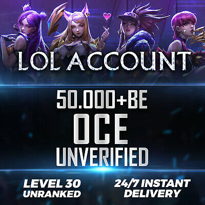 League of Legends Account OCE LOL Smurf 50.000 - 59.000 BE IP Unranked Level 30