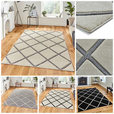 Modern Geometric Small Extra Large Carved Black Cream Grey By Matrix Think Rug