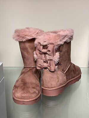 Womens Ladies Faux Fur Lined Bow Back Suedette Hug Boots Pink Size 7/ 40 NWB