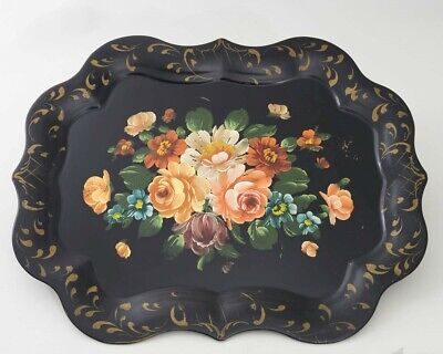 Antique Hand Painted Chippendale Metal Toleware Tray Black Scalloped Rim Floral