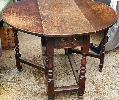 Beautiful 18th Century Oak Gateleg Dropleaf Dining Table Antique Round